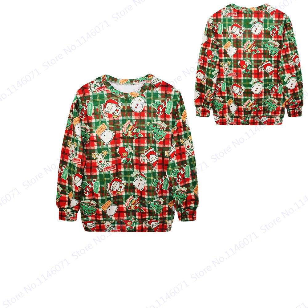 Women Hoodies Sweatshirts Red font b Tartan b font Training Exercise Sweater Santa Claus X Mas