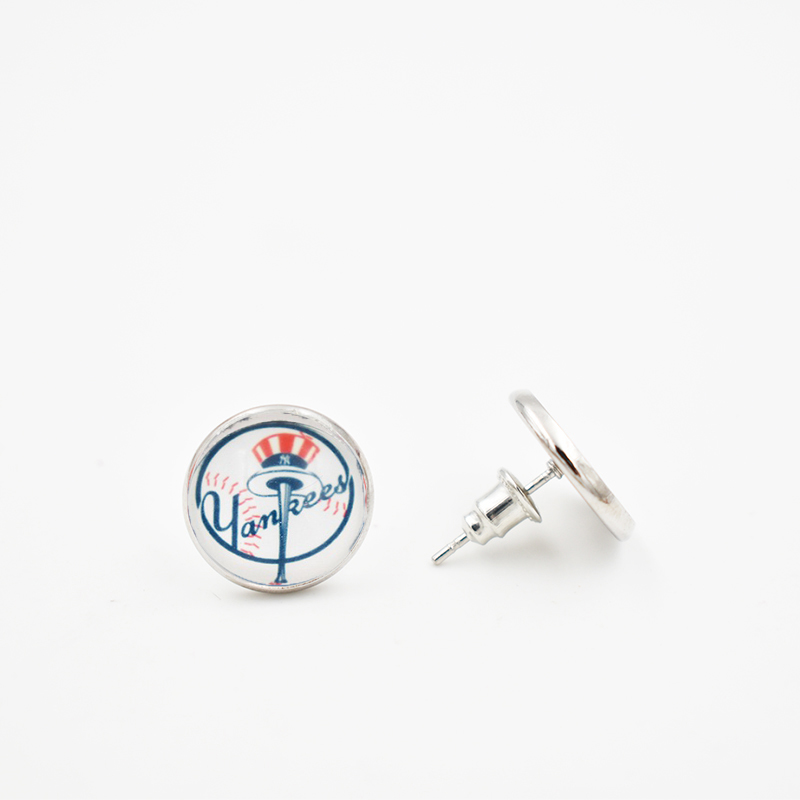 6 Style NY Yankees 12MM Glass Round Piece Earrings Baseball Team Alloy Stud Earrings for Women Men Fans Gifts 10 Pairs