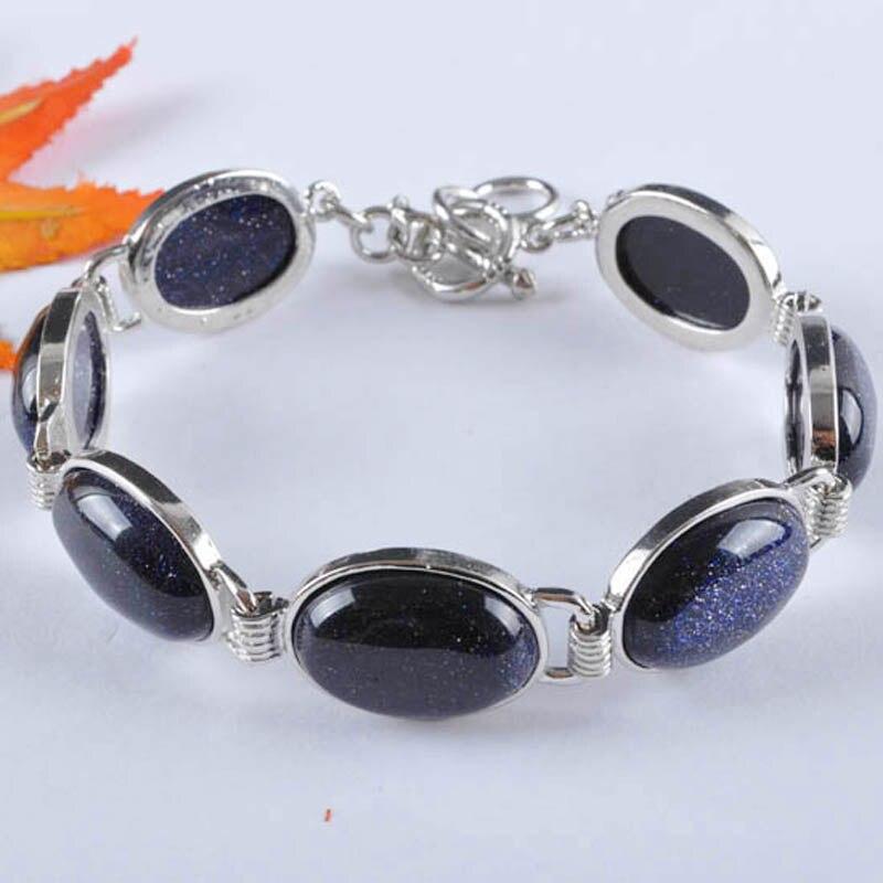 Grânulos de arenito azul pulseira de gema 8 Polegada jóias g047