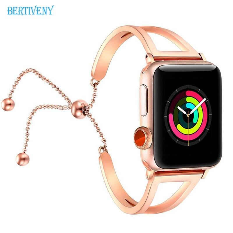 Pulsera de reloj de mujer para Apple Watch Bands 38mm/42mm correa de acero inoxidable ajustable con colgante para iwatch series 4 3 2 1