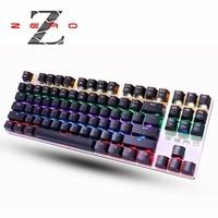 Quality Metal Panels Backlit Computer Gaming Emitting Led Light Modes Mechanical Keyboard Black Blue Switches Ergonomics