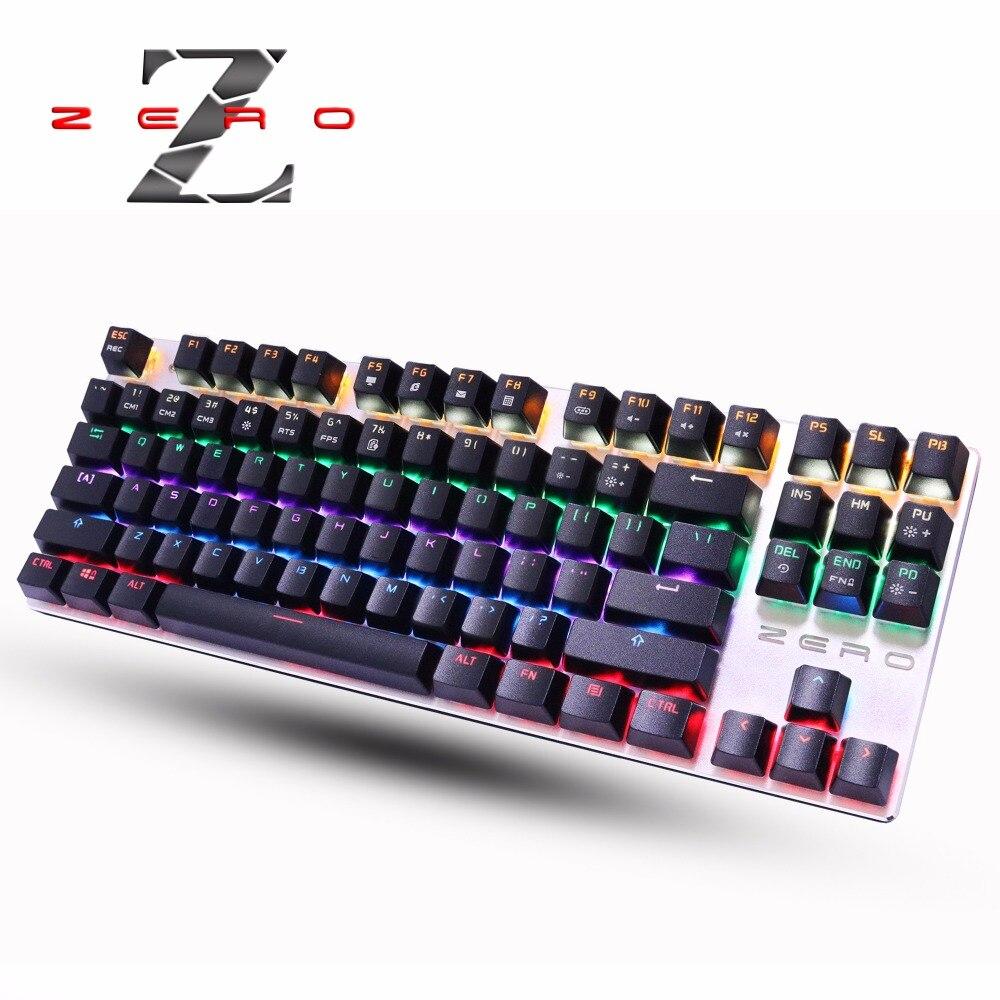 Metoo Echte LED Backlit Gaming Mechanische Tastatur 87/104 keys Blue/Schwarzen Schalter Metall Anti-geisterbilder Tastatur Russische aufkleber