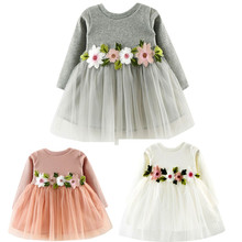 Cute Toddler Princess Dress  Pretty Toddler Kids Baby Girl Long Sleeve O-Neck Floral Belt Lace Tutu Dress Outfit Fall Party*30
