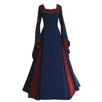 Gothic Big Swing Long Dress Women 2018 New Fall Square Collar Long Sleeve Flare Sleeves Female Medieval Party Prom Retro Dresses