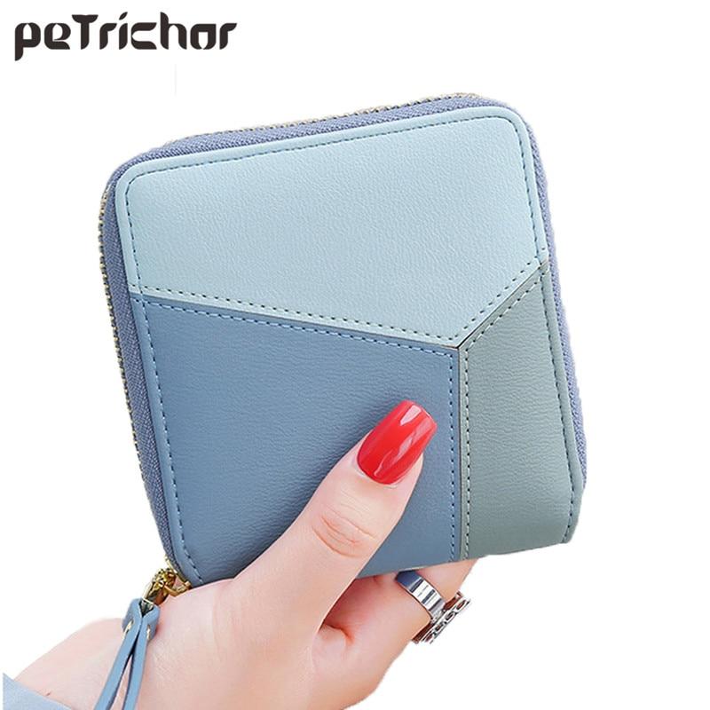 Petrichor rövid pénztárcák női cipzáras érme erszényes divat patchwork PU bőr pénztárca márka női női pénztárca kártya tartó
