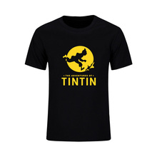 Cartoon Tintin Adventure Classic Animation T Shirts Summer Slim Fit Casual Man Tees Fashion High Quality Brand Clothes Plus Size