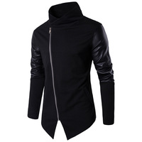 Clothing Men Cotton Autumn Slim Knitwear Pu Leather High Collar Casual Black Top Coat Male Large Size Mens Windbreaker Jackets