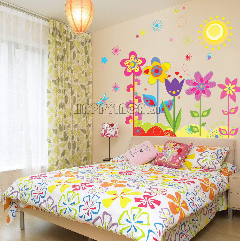 Multi color Removable Sun Girls Bedroom Decor Cartoon Sunflowers ...