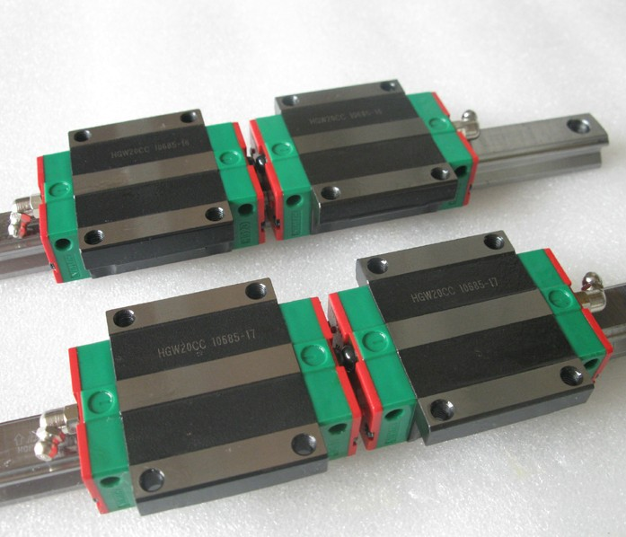 все цены на 2pcs Hiwin linear guide HGR20-1100MM + 4pcs HGW20CA linear flanged blocks for cnc онлайн