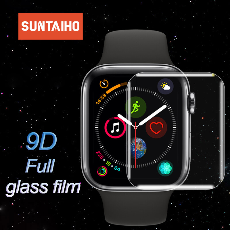 Suntaiho 9D Screen Protector for Apple Watch Series 4 3 2 Protector Full Cover Full gel Glass Film For Apple Watch 4 40 44 mm