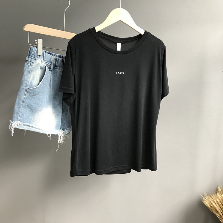 T Delle Donne Della Camicia di Cotone Elastico di Basis T-Shirt Femminile KP21