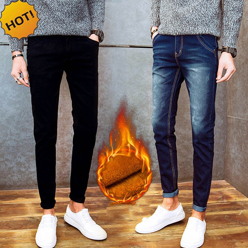 New Arrival Autumn Winter Casual Thicken Thermal Fleece Men's Add Wool Denim Teenagers Pencil Pants Hot Men's Jeans