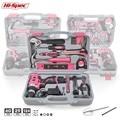 Набор ручных инструментов Hi-Spec розового цвета с аккумуляторной дрелью, отверткой для ремонта дома, подарочный набор инструментов, набор инс...