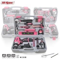 Conjunto de herramientas de mano de color rosa de alta especificación con destornillador de taladro inalámbrico para reparar herramientas de regalo eléctricas para el hogar para mujeres Kits de herramientas para el hogar en caja