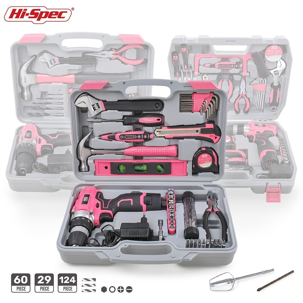 Hi-Spec Pink Hand Tool Set With Cordless Drill Screwdriver Repair Home Power Gift Tool Set Lady Household Tools Kits In Case Box
