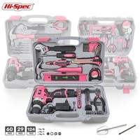 Hi Spec Pink Hand Tool Set with Cordless Drill Screwdriver Repair Home Power Gift Tool Set Lady Household Tools Kits in Case Box