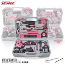 Hi-Spec Pink Hand Tool Set with Cordless Drill Screwdriver Repair Home Power Gif