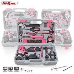 Hi-Spec Roze Hand Tool Set Met Draadloze Boor Schroevendraaier Reparatie Home Power Gift Tool Set Lady Huishoudelijk Gereedschap kits In Geval Doos