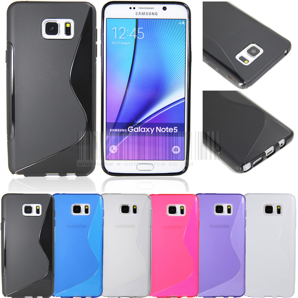 Noir de l'éléphant dessin de protection animé Design TPU étui souple peau de gel de coque Pour Samsung Galaxy Note 5