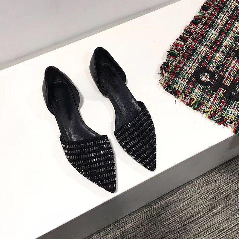 Casual Shoes Woman Flats Pointed Toe Slip On Suede Cozy Crystal Flats Design Woman D'orsay Flats Tide Mujer Shoes Female Flats women pointed toe flats 2016 casual shoes female graffiti ballet flats mujer zapatos footwear for woman