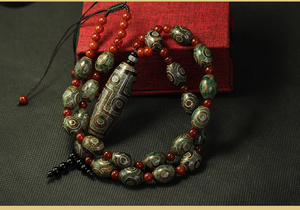 Image 2 - Arsun Jewelry Tibet Dzi Beads Necklace Real Stone Tibetan Jewelry Men&womens Necklace Free Shipping