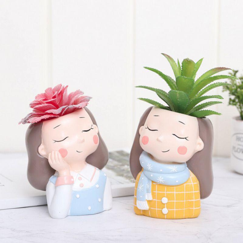 Cute Girls Shaped Flower Pot Succulent Cactus Plant Pots Bonsai Planter For Home Garden Office Desktop Decoration