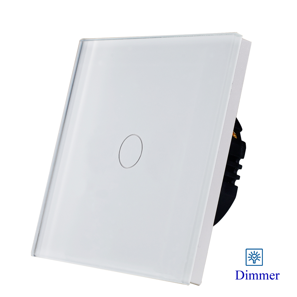 700 W stmívač - Hot Sale Bingoelec white glass panel 700W 1gang1way light dimmer switch for dimmable light 1/2 Gang EU Stadard Wall Switch