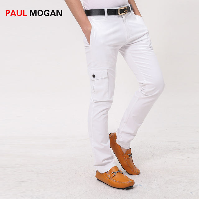 45ed559215 Paul Mogan hombres pantalones Casuales de la moda de algodón Blanco  pantalones de Diseñador de marca