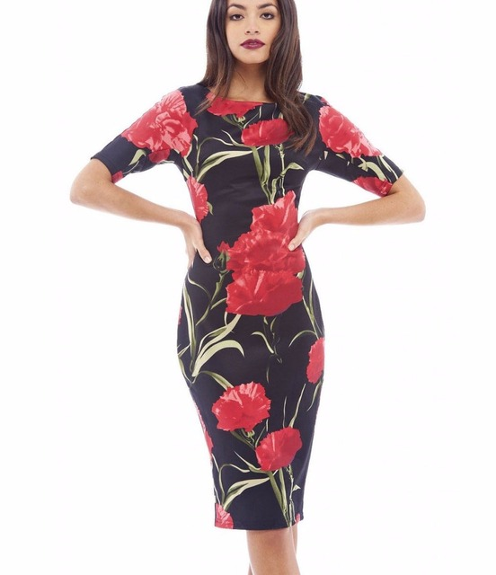 Us 5 97 40 Off Fashion Free Shipping Designer Women Dress Elegant Floral Print Work Business Casual Party Pencil Sheath Vestidos 004 In Dresses From