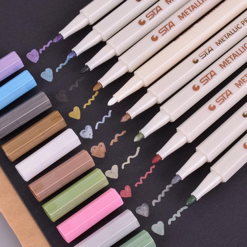 1 X STA Metallic Pen Color Gel Pen Decorative DIY Album Marker Pen Scrapbooking Card Photo Stationery