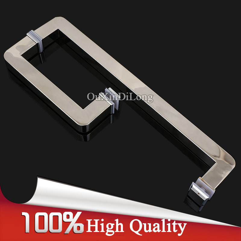 High Quality 1Pair 304 Stainless Steel Frameless Shower Bathroom Glass Door Handles Pull / Push Handles Glass Mount Chrome
