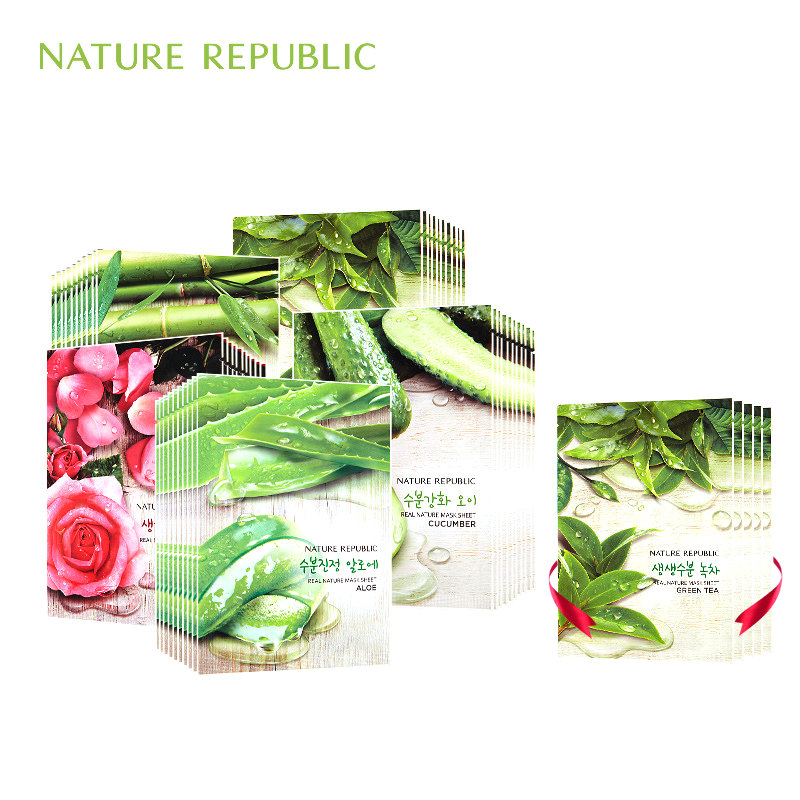 Nature Republic Sheet Mask 12pcs Korean Plant Facial Mask Rose Green Tea Royal Jelly Bamboo Cucumber Moisturizing Mask Face Care