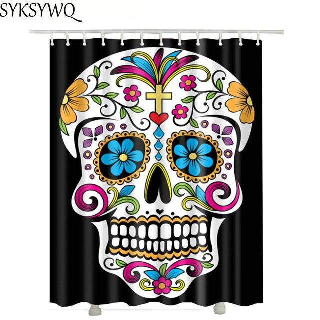 Cross Skull Shower Curtain Black Drop Shipping Waterproof Polyester Fabric Flower Curtains Bathroom