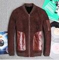 2015 Nuevo párrafo Corto Cuero de la motocicleta chaqueta de cuero de Piel de Invierno de Cuero masculino JSH561