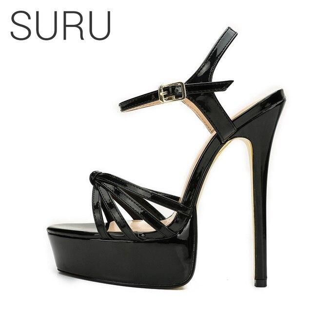 SURU 16cm Ultra High Heels Platform Sandals Sexy Killer Unisex Women s  Stiletto High Heeled Strapy Slingback Sandals Large Size. 4 orders f69ba3a58cbe