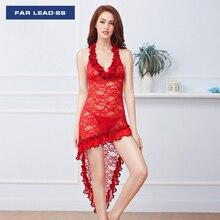 Transparents Bud silk pyjamas Sexy lace women nightgown Condole belt Long skirt Lingerie Night dress Thong Sleepwear Nightwear