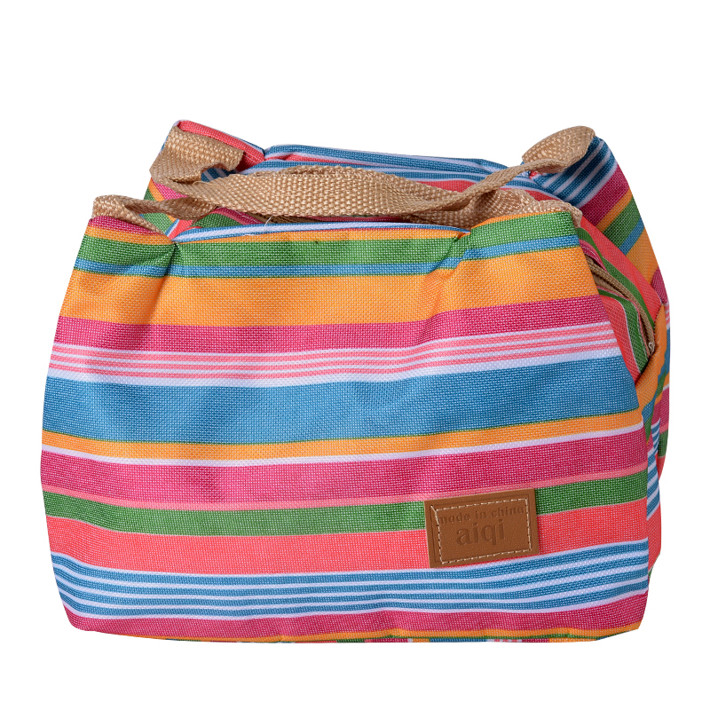 WENYUJH Colorful Stripe Tote Bags Insulated Lunch Bag Thermal Cooler Picnic Food Lunch Box Bag For Women Ladies Kids marmita shoulder lunch bag tote women kids thermal insulated cooler storage picnic food drink bento box accessory supply products stuff