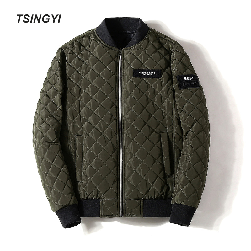 Tsingyi 4XL Fashion Autumn Winter Jacket Men Diamond Lattice Black Green White Blue Red Parka Homme Long Sleeve Men Winter Coat