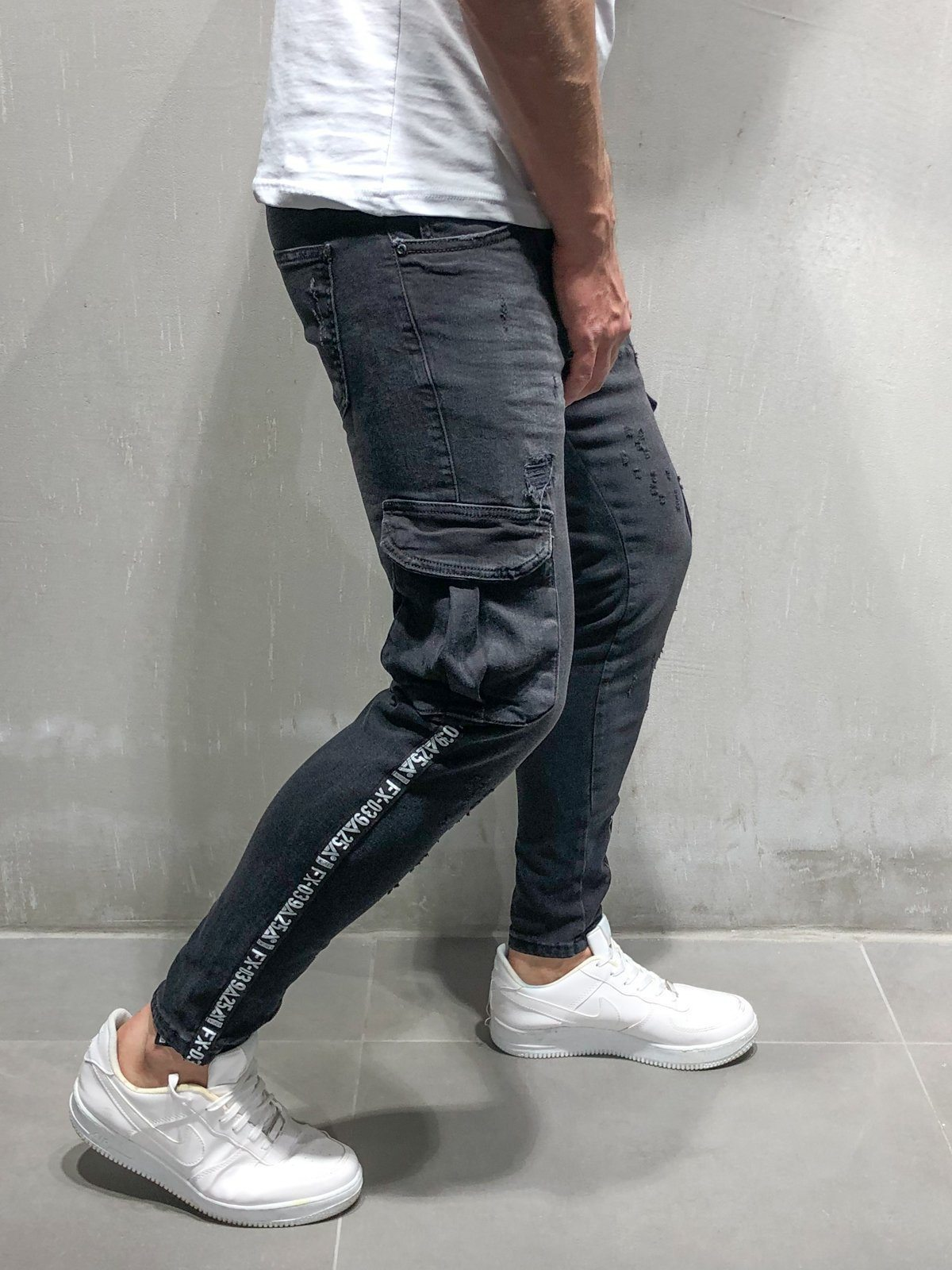 Men black Stretchy   Jeans   Pockets Side striped Design Fashion Ankle Zipper Skinny   Jeans   For Men