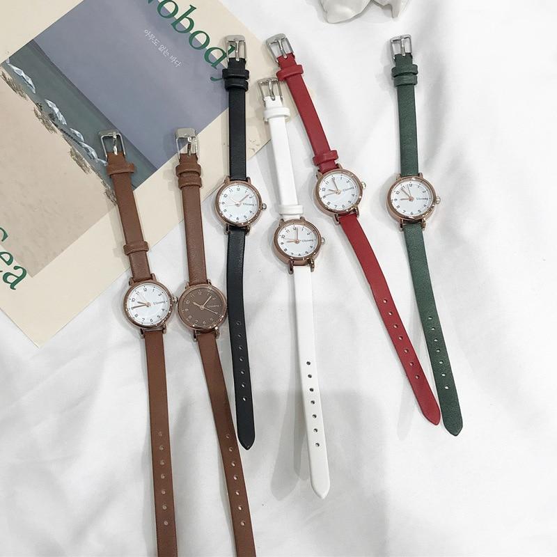 שעון יד נשים עם רצועת עור דק במיוחד חברת Ulzzang 2