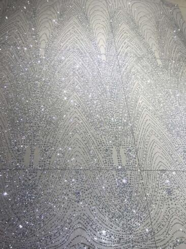 hot sale african tulle mesh fabric sparkly glued glitter sequins lace fabric Cyndi 2 161 in
