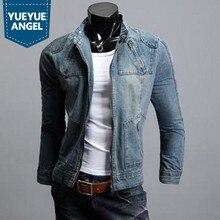 Manteau Homme Модные мужские джинсовые куртки куртка на молнии пальто для мужчин Aqueta Motoqueiro Harajuku джинсовое Мужское пальто размера плюс