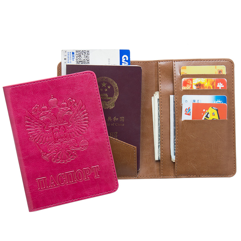 Coin Purses & Holders Sweet-Tempered Russian Oil Pu Leather Double Eagle Passport Holder Unisex Passport Cover Built In Rfid Blocking Protect Personal Information Shrink-Proof