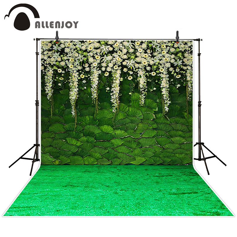 Allenjoy photographic background Green lotus flower garden backdrops boy wedding fabric photocall 8x12ft