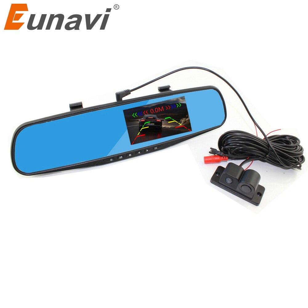 2018 Real Dash Cam Eunavi Car Reversing Backup Alarm Security System 4.3 Inch Mirror Dvr+rearview Camera+4 Parking Sensors Auto