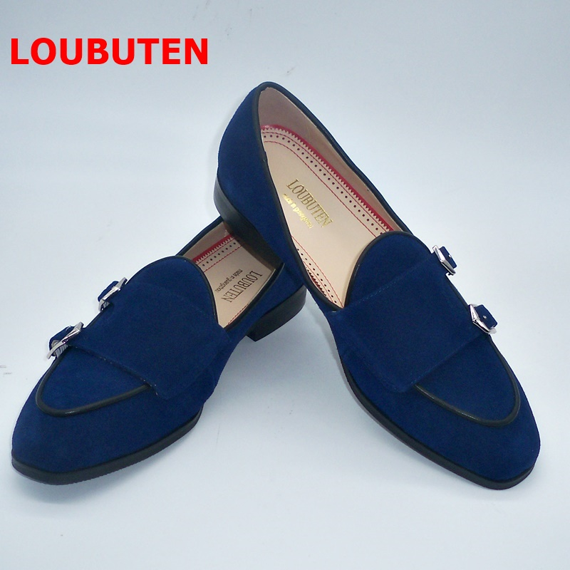 LOUBUTEN New Handmade Navy Blue   Suede   Loafers Luxury Double Monk Strap Men   Leather   Shoes Slip On Casual Shoes Men Smoking Shoes