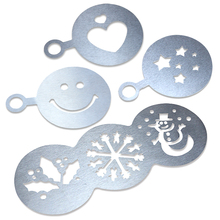 BEEMSK 4Pcs/Set Stainless Steel Coffee Stencils Metal Chocolate Cake Mold Barista Cappuccino Latte Decorating Embossing