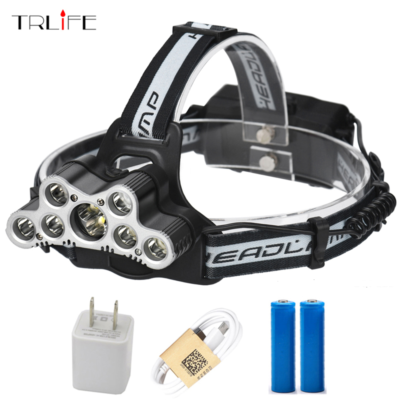 30000 Lumens 7/9 CREE LED Headlamp XML T6 Headlight Led Head Lamp Camping Light Fishing Flashlight Torch Rechargeable for 18650
