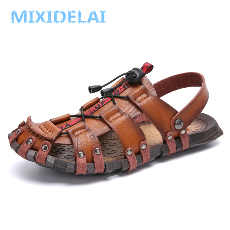 MIXIDELAI New Hot Sale Men'S Sandals Leather Men Summer Shoes Leisure Slippers Flip-Flops Men Comfortable Footwear Soft Sandal