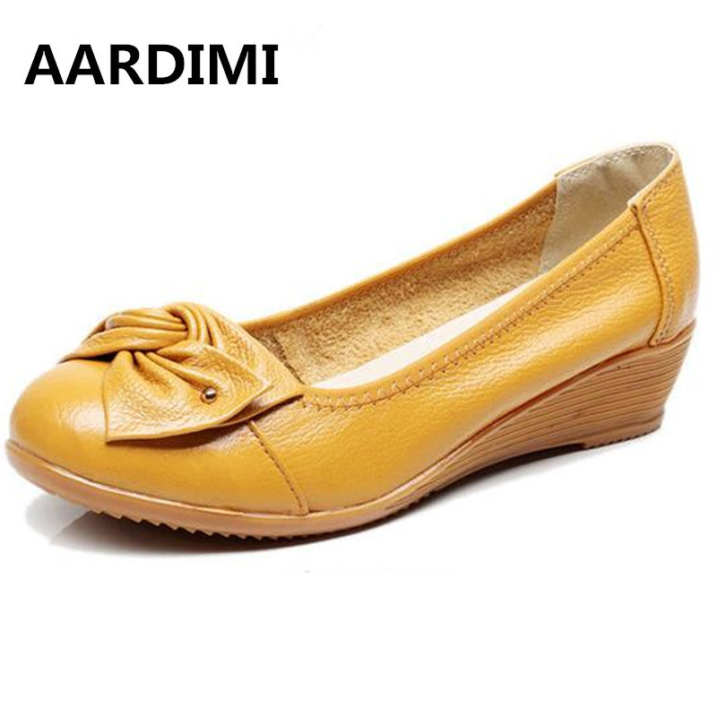AARDIMI 100 Genuine Leather Women Shoes High Heels Black Slip On Moccasins Casual Wedges High Heeled
